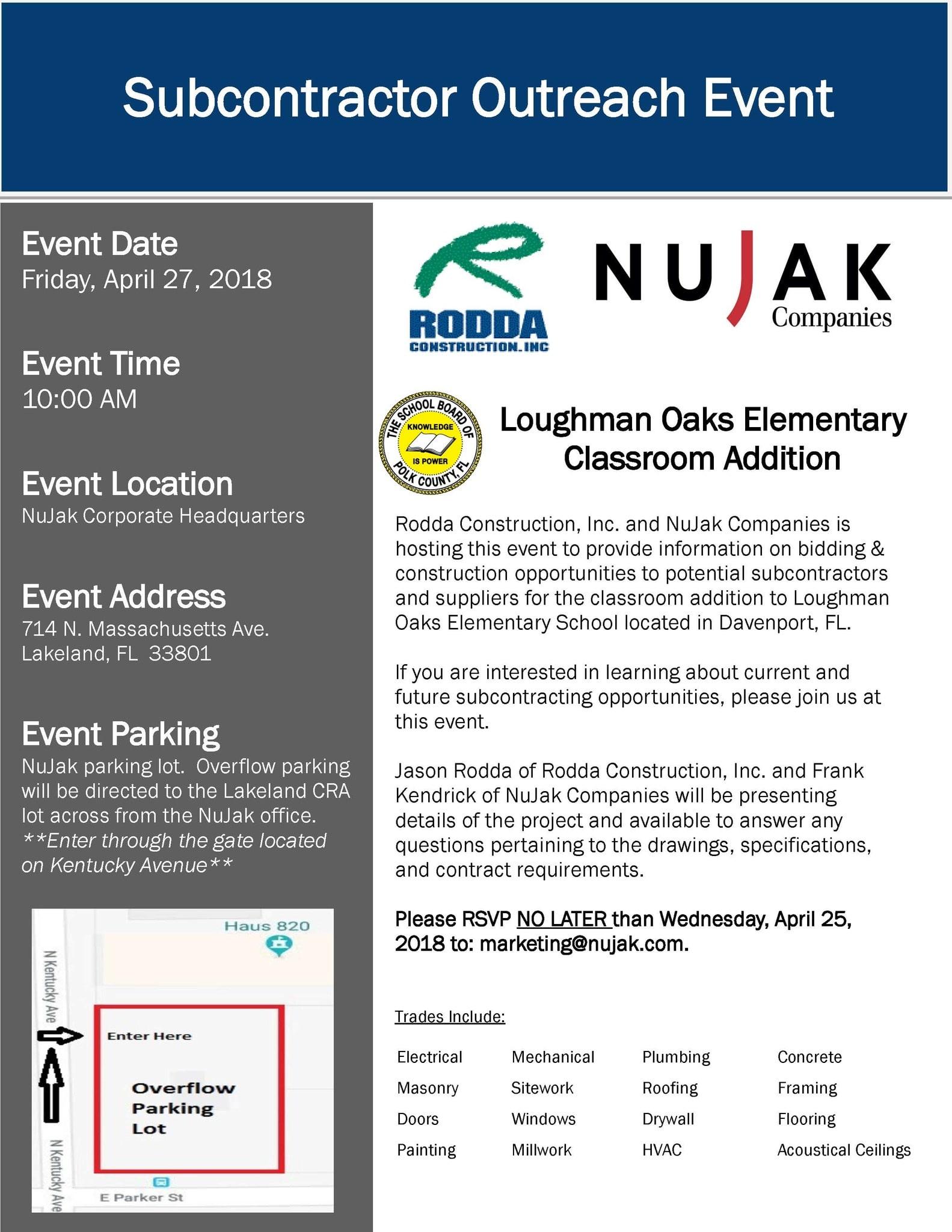 Rodda-NuJak Loughman Oaks Outreach Event Flyer